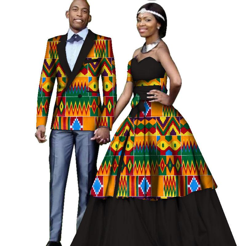 04ef1bb67 African Clothing For Couples Wedding African Print Long Sleeve Men Blazer  Jacket Women Off Shoulder Ball Gown Dress WYQ137 Evening Dresses Online  Cheap ...