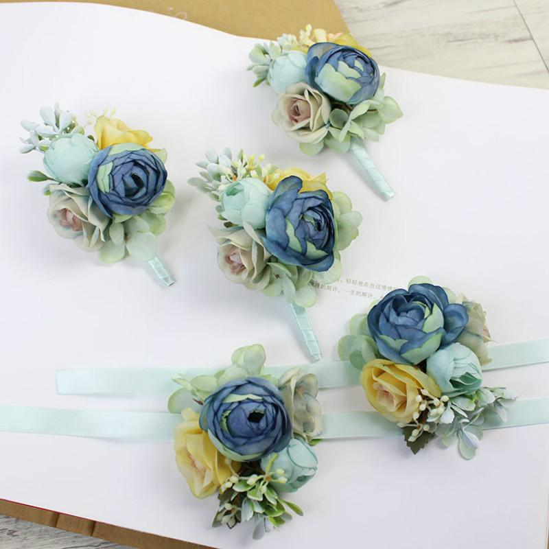cd85da0e45 heap Artificial & Dried Silk Rose Wrist Corsage Bridesmaid Sisters Hand  Flowers Artificial Bride Flowers for Wedding Dancing Party D...
