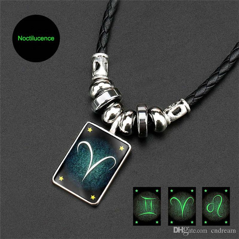 12 Constellation Necklace Glow in the Dark Zodiac Sign Necklaces Designer  Necklace Fashion Jewelry Gift Will and Sandy Drop Ship 380132