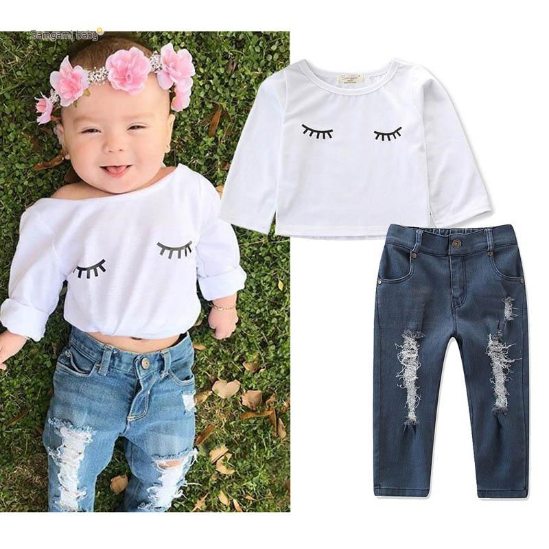7c13f46592696 Little Girls Clothing 2019 Spring Girls Outfits Kids Designer Clothes Girls  Suits Cute T Shirt+Jeans Kids Sets Fashion Kids Clothes A3161 Online with  ...