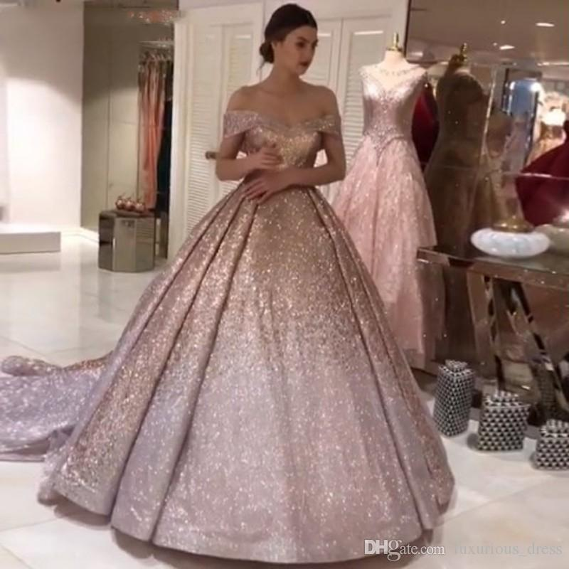 285f905428 Sparkly Ombre Champagne Silver Sequin Prom Dresses 2019 Dubai Glitter Ball  Gown Party Dress Sweetheart Court Train Evening Gowns Arabian Summer Prom  Dresses ...