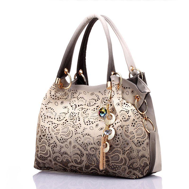 2019 Women Bag Hollow Out Ombre Handbag Floral Print Shoulder Bags Ladies  Pu Leather Tote Bag Designer Wallet Sac A Main Bags For Sale Handmade Leather  Bags ... 3d49d00a7ce86