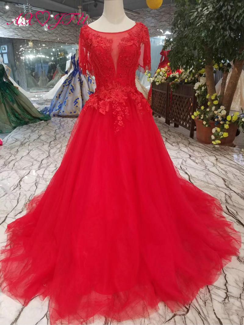 Axjfu Luxury Princess Red Lace Wedding Dress O Neck Beading Crystal Dubai Flower 100real Photo 450 Tulle Ball Gown: Lace Wedding Dress Red Flower At Reisefeber.org