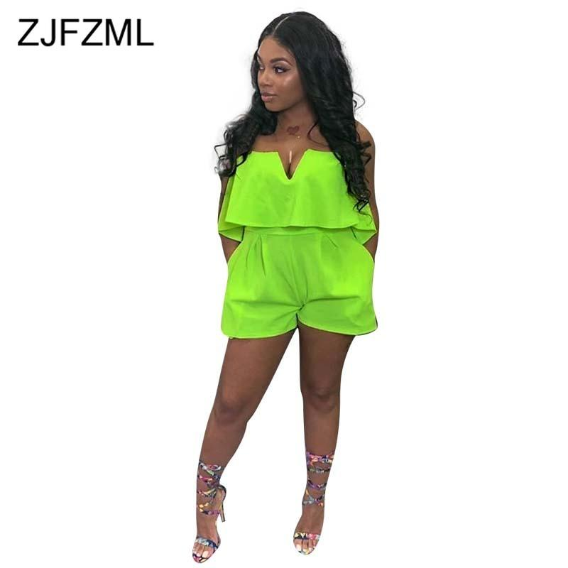 Neon Green V Neck Sexy Short Playsuits Women Off Shoulder Backless Beach Romper Summer Strapless Sleeveless One Piece Jumpsuit