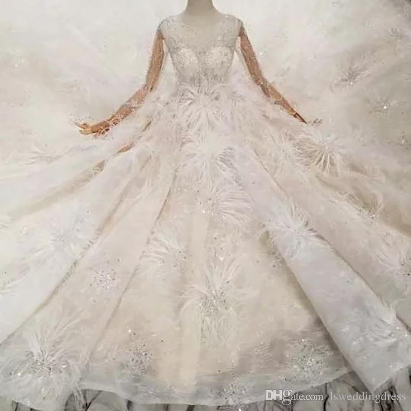 80e0d6e3ee72 Special New Wedding Dresses With Feather Illusion Long Sleeves Ball Gown  Hand Work Wedding Gowns With Long Train High Quality Saudi Arabia Gorgeous  Dresses ...