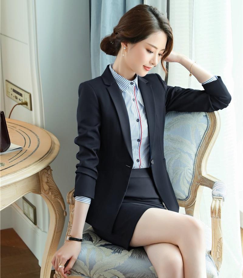Compre Nuevo 2019 Formal Blazer Negro Trajes De Falda De Mujer Ropa De Trabajo  Conjuntos De Damas Ropa De Negocios Ropa De Oficina Estilos De Uniformes OL  A ... 262d088fa2a6