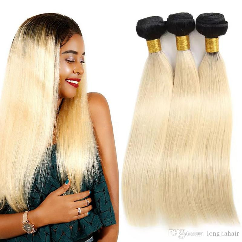 Ombre Brazilian Straight Hair Bundles Unprocessed 1b 613 100% Human Hair 1B 613 Blonde Straight Hair Extension
