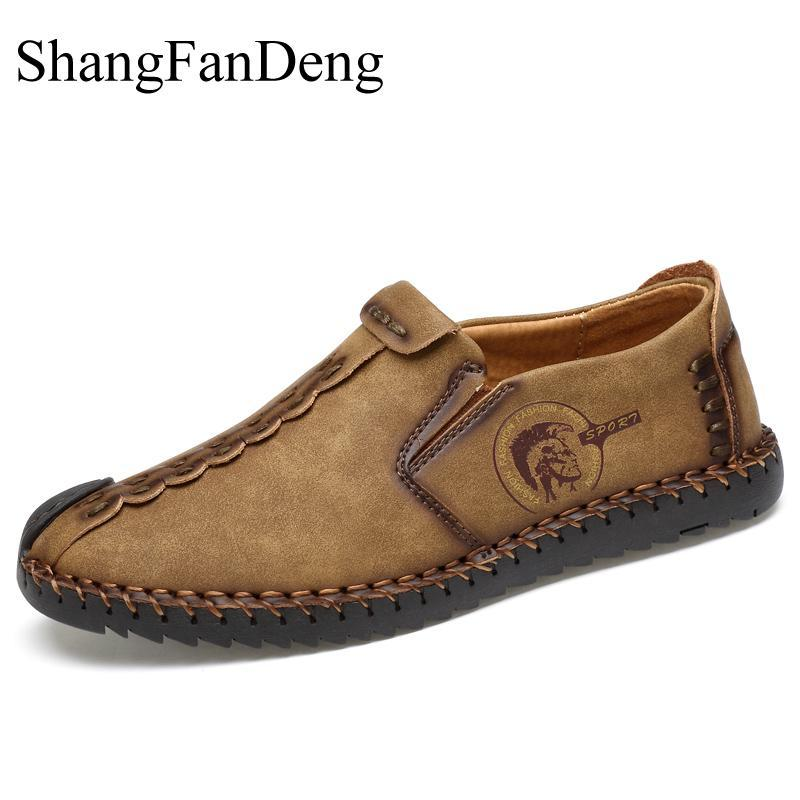 2019 Fashion Comfortable Casual Shoes Loafers Men Shoes Quality Split Leather Men Flats Hot Sale Moccasins Retro