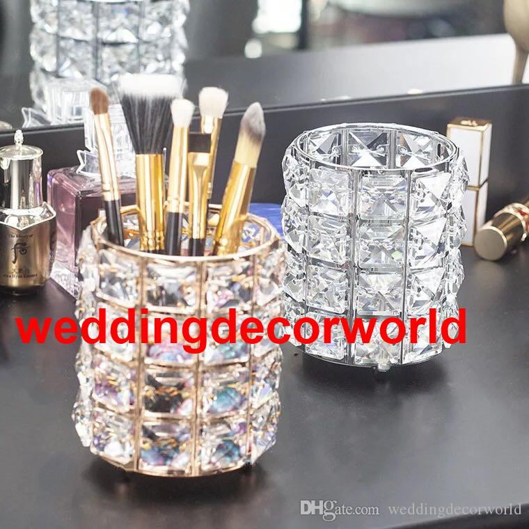 New style crystal Golden Candle Holders Hollow Crystal Wedding Table Candelabra Centerpiece Flower Rack Road Lead For Home Decor best563