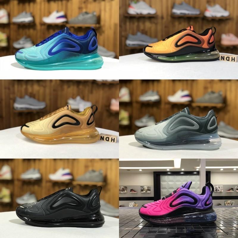 2019 nike air max 720 zapatos new air max 720 Calzado casual para correr Hombres Mujeres Sea Forest Sunset Triple Negro Blanco Sunrise Hombre Cojín de