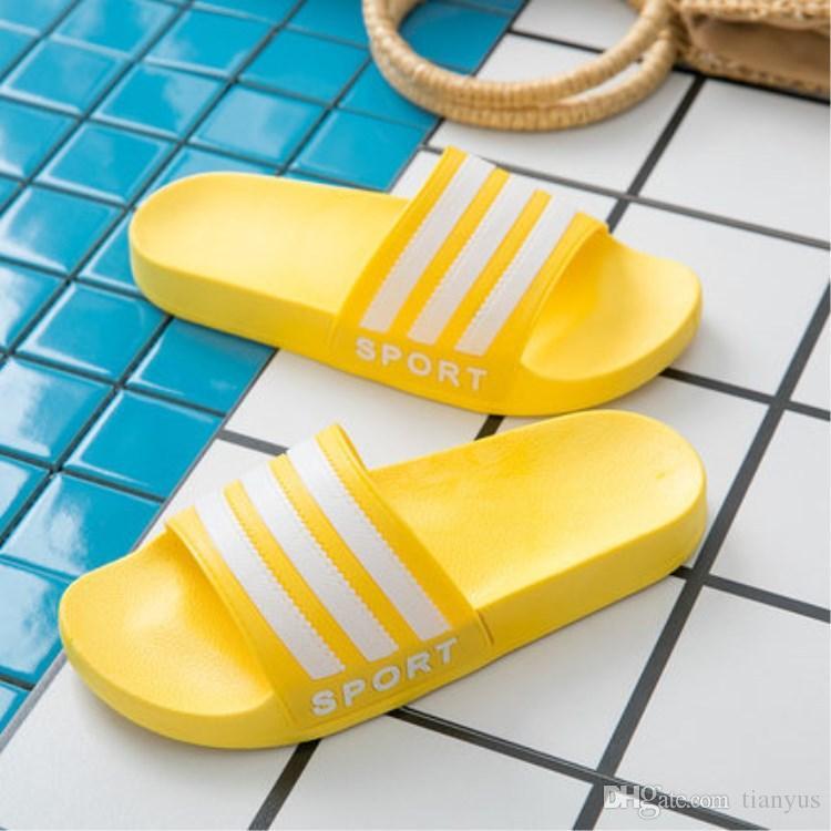 Slipper Frauen Damen Designer Gestreifte Glatte Dicke Indoor 173 Breite Flop Q Flache Rutsche Sandalen Flip 2019 Sommer Schuhe Strand DeHY2W9EI