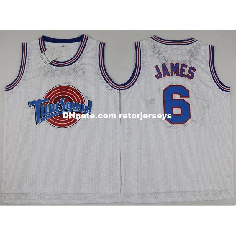 a455e290664724 2019 Lebron James  6 Space Jam Basketball White Stitched Jersey XS 6XL New  From Retorjerseys