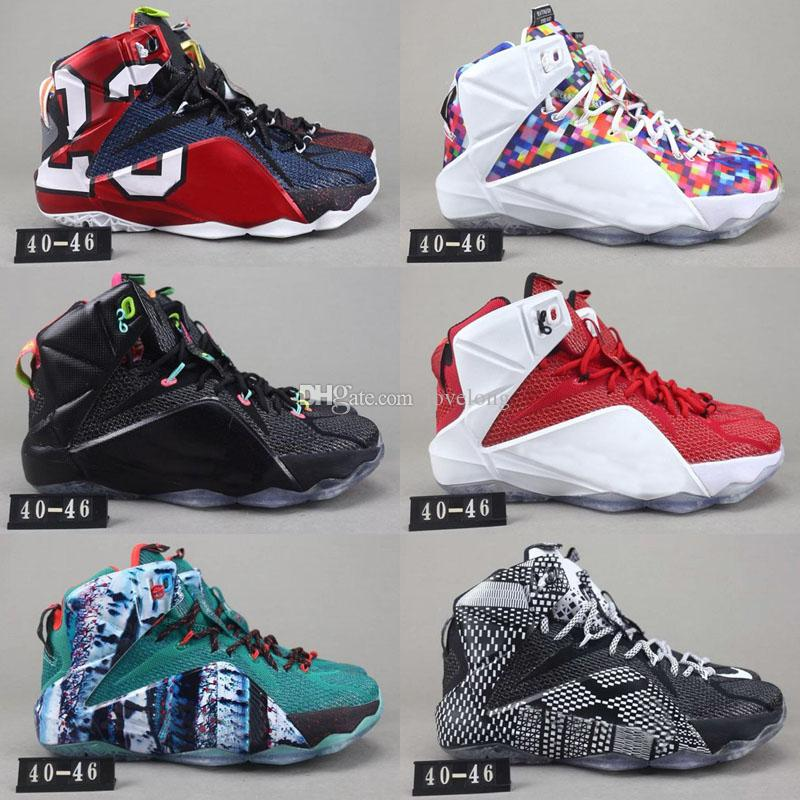 pretty nice 7302b 5dd03 High Quality Athletic LeBron 12 XII Elite Basketball Shoes Kids Shoes Men  What The Black White Metallic Gold Multi Sneaker