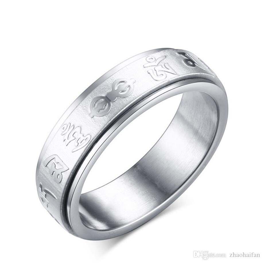 Zhf Jewelry Hot Sell Spinner Ring Stainless Steel Rotate Mantra Chinese Buddhism Charm Men's Men Wedding Bands Band From Zhaohaifan: Chinese Man Wedding Band At Websimilar.org