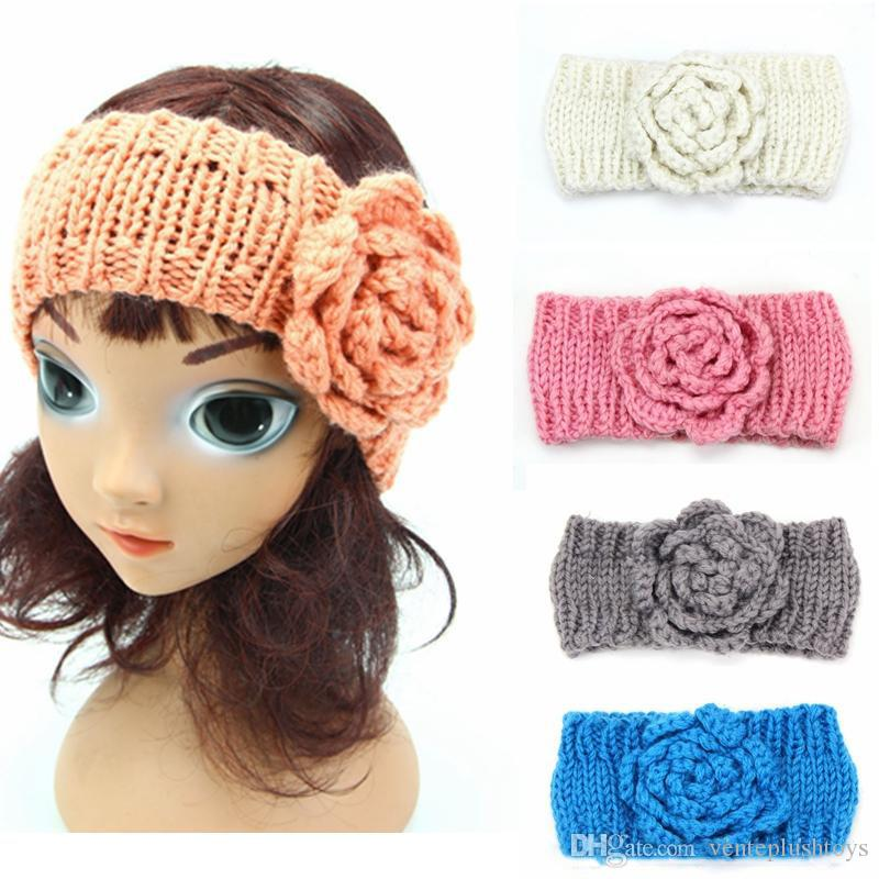 bb3e4ac38 Con textura de ganchillo vendas de flores tejidas a mano niños diadema bebé  de invierno vendas de la cabeza de la niña envuelve la cabeza única ...