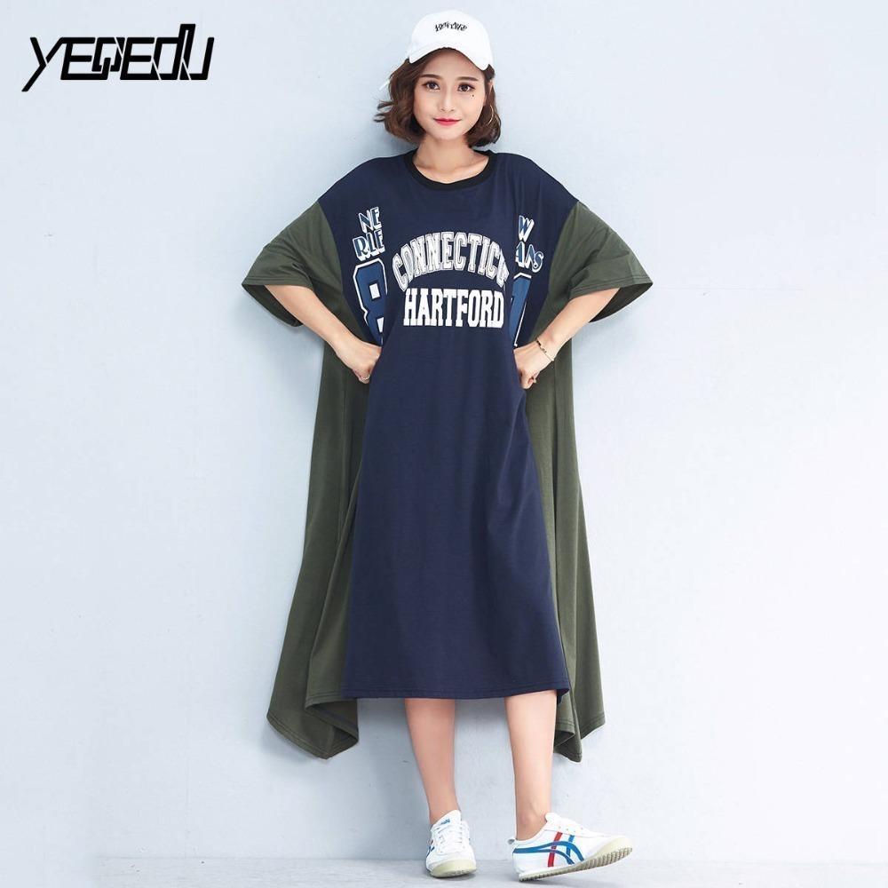 fd0d1021bd8  1716 2019 Summer Print Letter T Shirt Dress Women Short Sleeve Oversize  Long Dresses Plus Size Loose Cotton O Neck Harajuku C19010801 Canada 2019  From ...