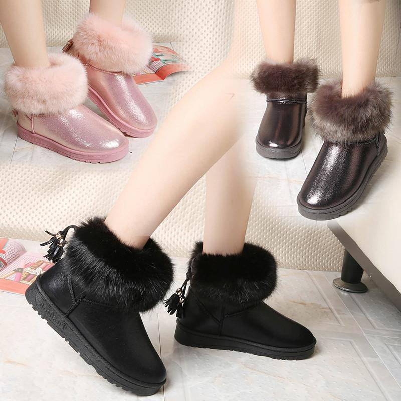 Winter New Korean Snow Boots Women's Boots Non-slip Student Short Tube Tassel Hair Round Head Warm Cotton Shoes Size 35-40