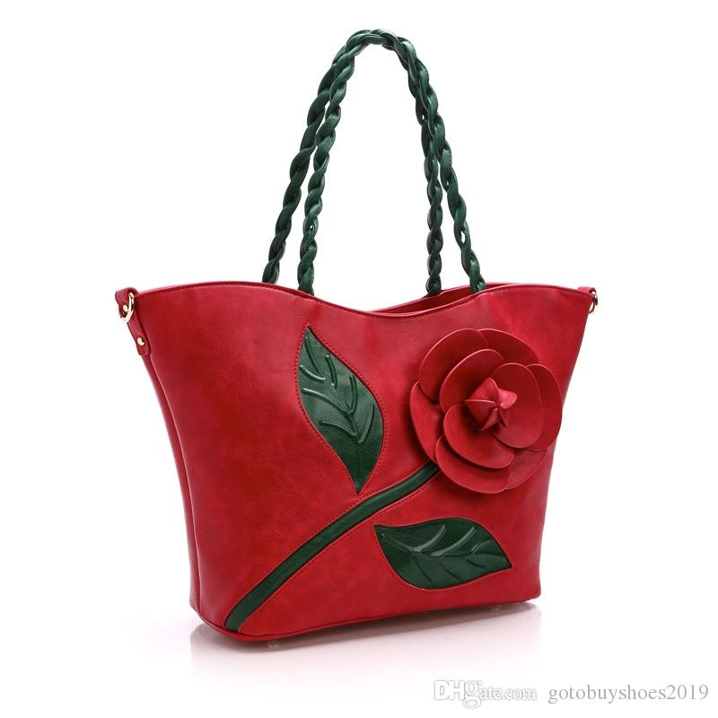 The Latest Women's Bag In 2018 Classical Retro Rose Stereo Big Flowers Handbag with Single Shoulder Oblique Satchel #236397