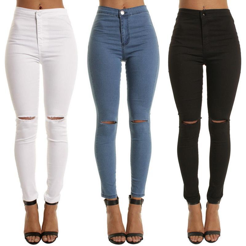0656b3326b16 Acheter Laamei Taille Haute Casual Jeans Skinny Pour Femmes Trou Vintage  Filles Slim Déchiré Denim Crayon Pantalon Haute Élasticité Noir Bleu De   47.0 Du ...