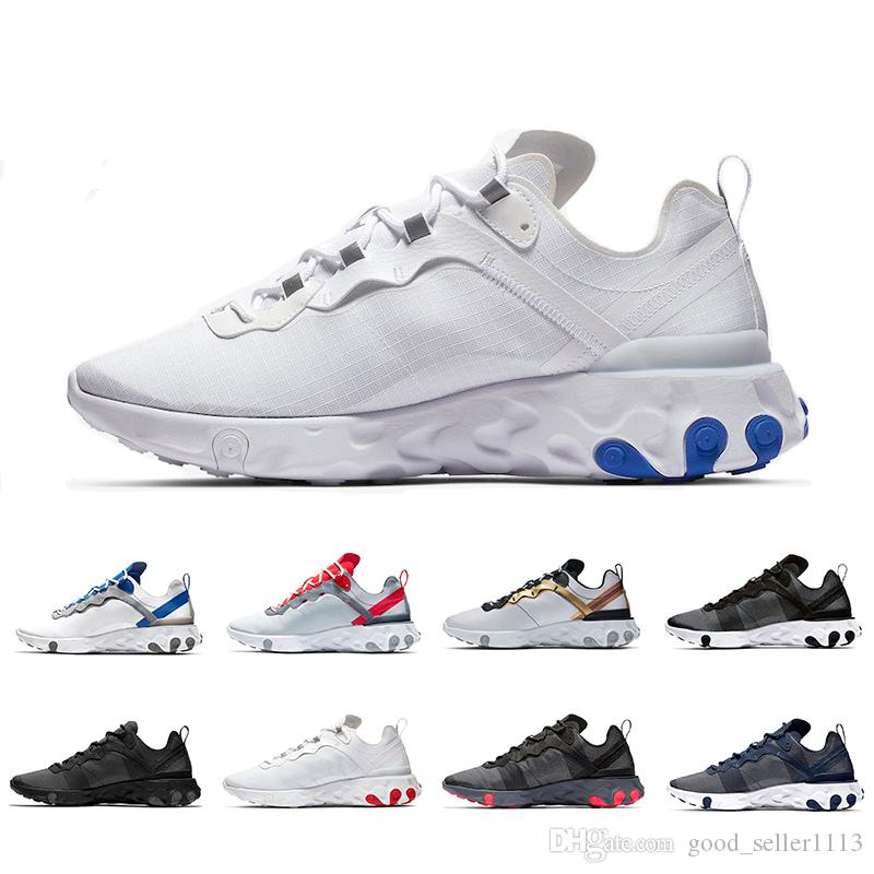New Game Royal Jade Grid Pack Taped Seams React Element 55 Women Men Running shoes Total Orange Designer Trainers 55s Sports Sneakers 36-45