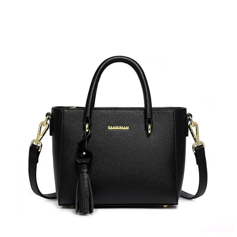 17012dd987 Fansiman Brand 2019 Women Shoulder Bags Pu Leather Fashion Tassel Women  Handbags Big Tote Luxury Dress Bag Female Work Hand Bag Handmade Leather Bags  Totes ...