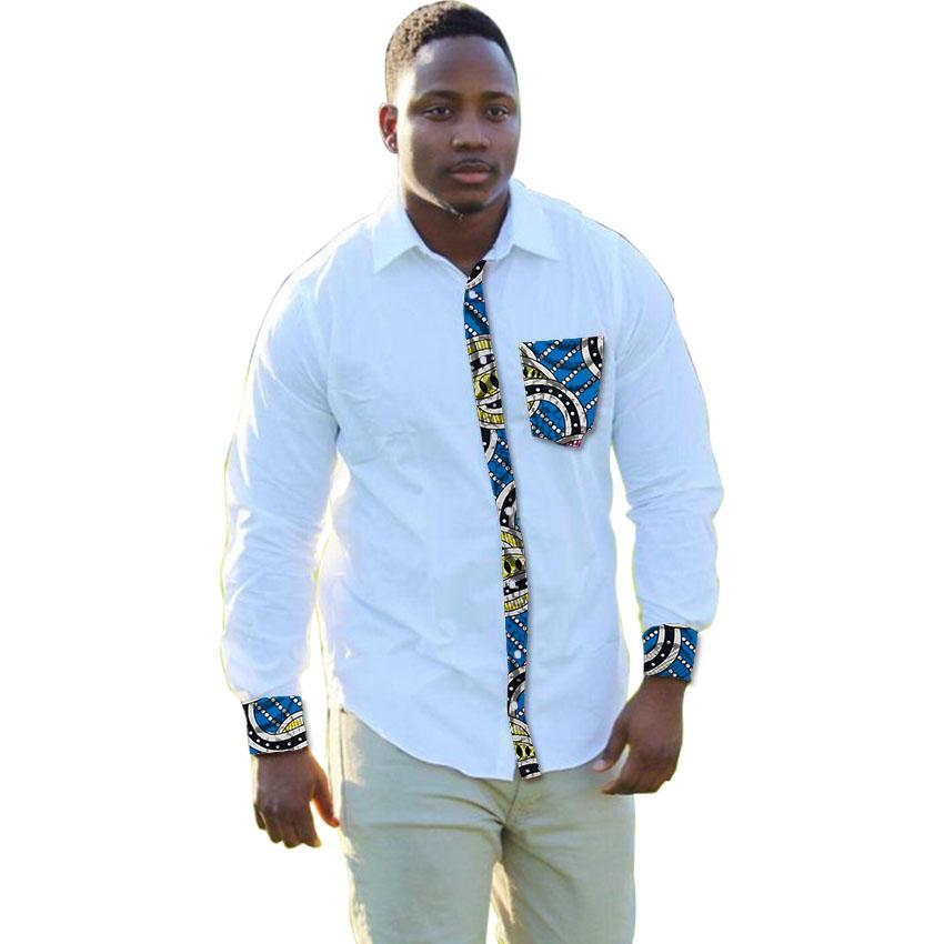 64e33c16333f African clothing men's shirt turn down collar Ankara white with print  patchwork male dashiki shirt customized for wedding