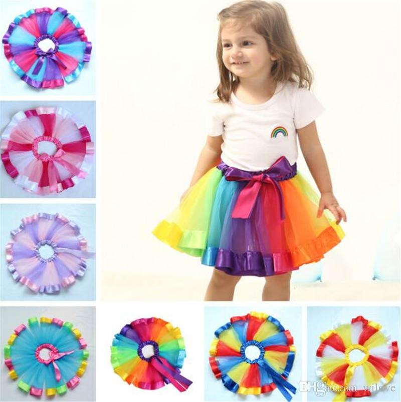 Hot Kids Lovely Handmade Colorful Net Tutu Skirt Girls Rainbow Tulle Tutu Pettiskirt Ballet Dance Bubble Skirt 4-8T Party Petticoat