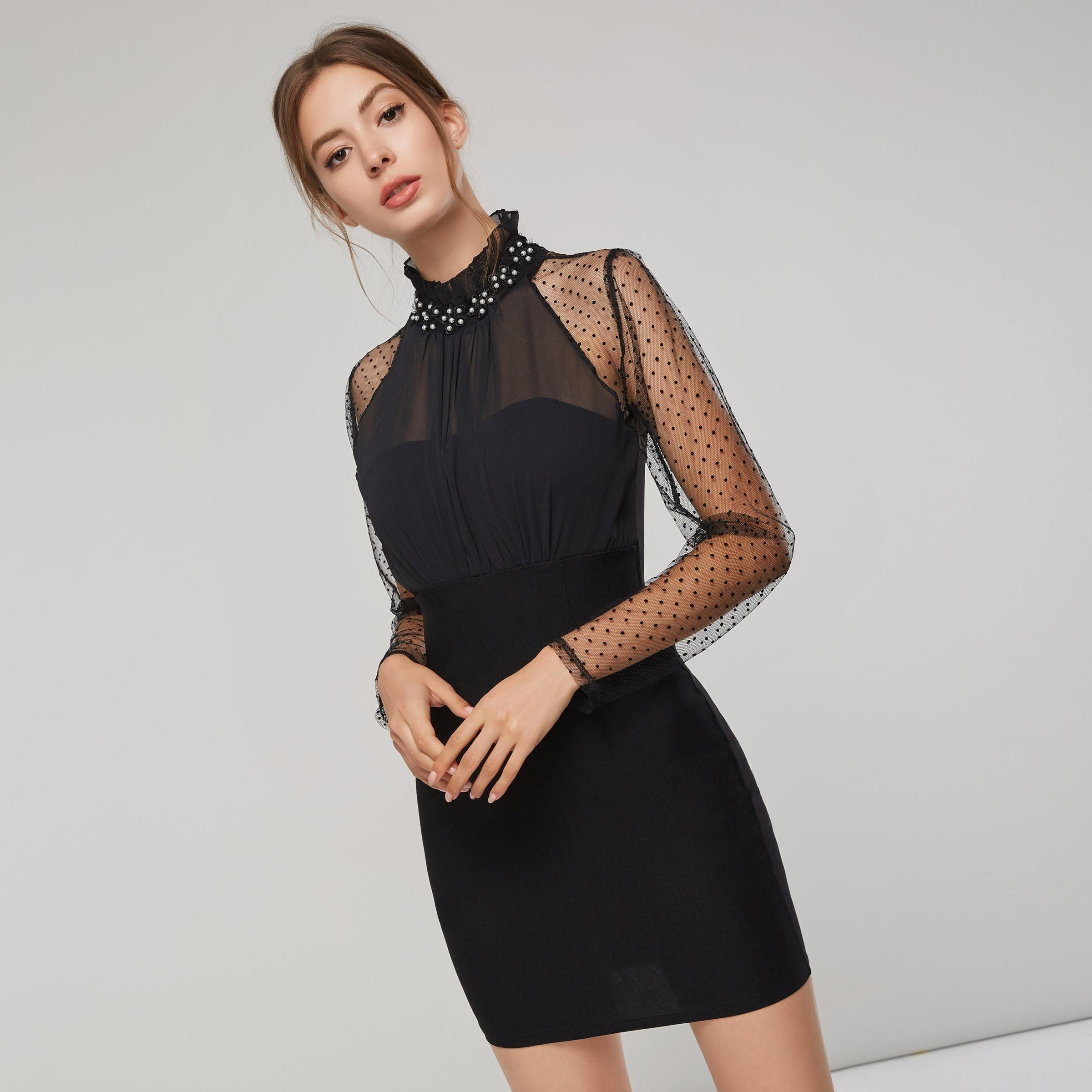 1c94c3f7eac 2019 Evening Party Work Vintage Black See Through Polka Dot Mesh Bodycon  Dress Women Spring Ruffle Faux Pearl Short Dresses C19041501 From Shen8407