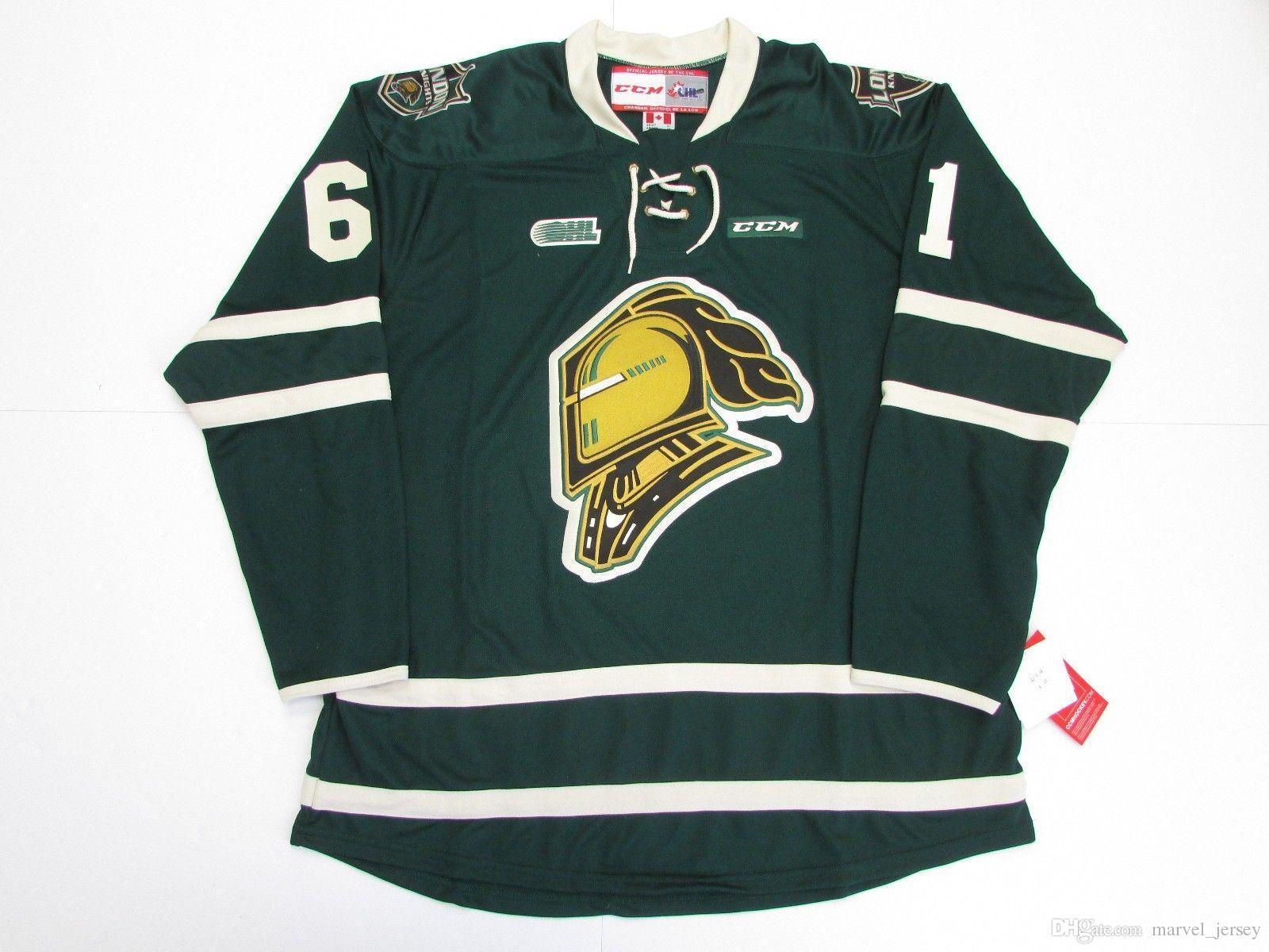 new arrival f1dc3 7bb7e Cheap custom JOHN TAVARES OHL LONDON KNIGHTS GREEN CCM HOCKEY JERSEY stitch  add any number any name Mens Hockey Jersey XS-5XL