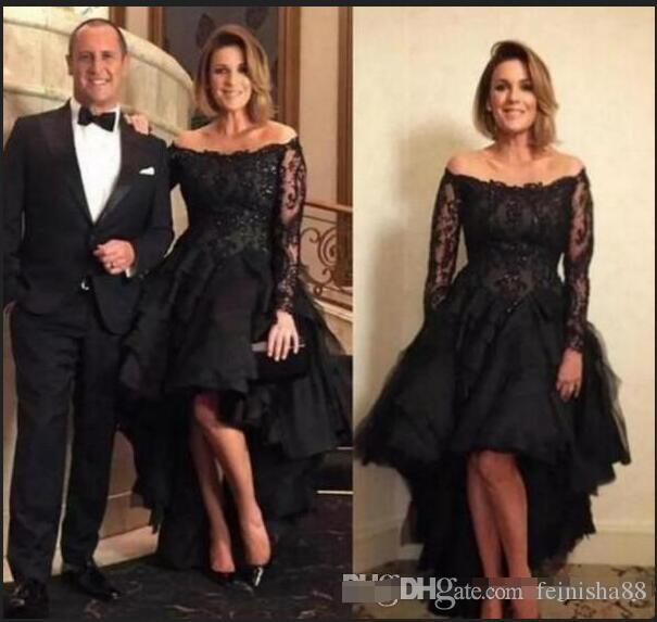 2019 Plus Size Hi Lo Prom Dresses Off the Shoulder Illusion Long Sleeves Tiered Tulle Short Front Long Back Evening Black Party Gowns