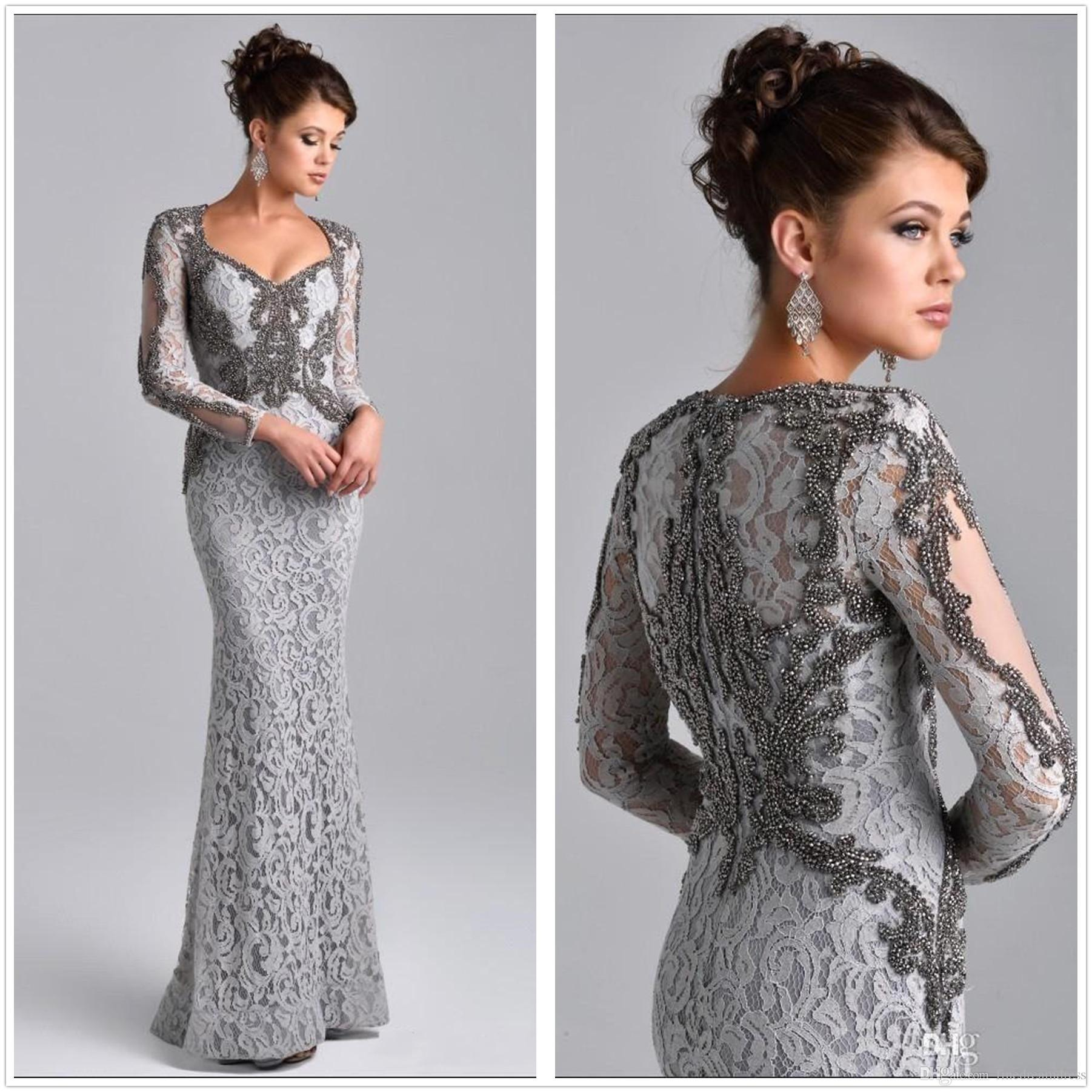 Arabic Scoop Neck Long Sleeves Lace Mermaid Long Evening Dresses Beaded Stones Floor Length Formal Party Prom Dresses