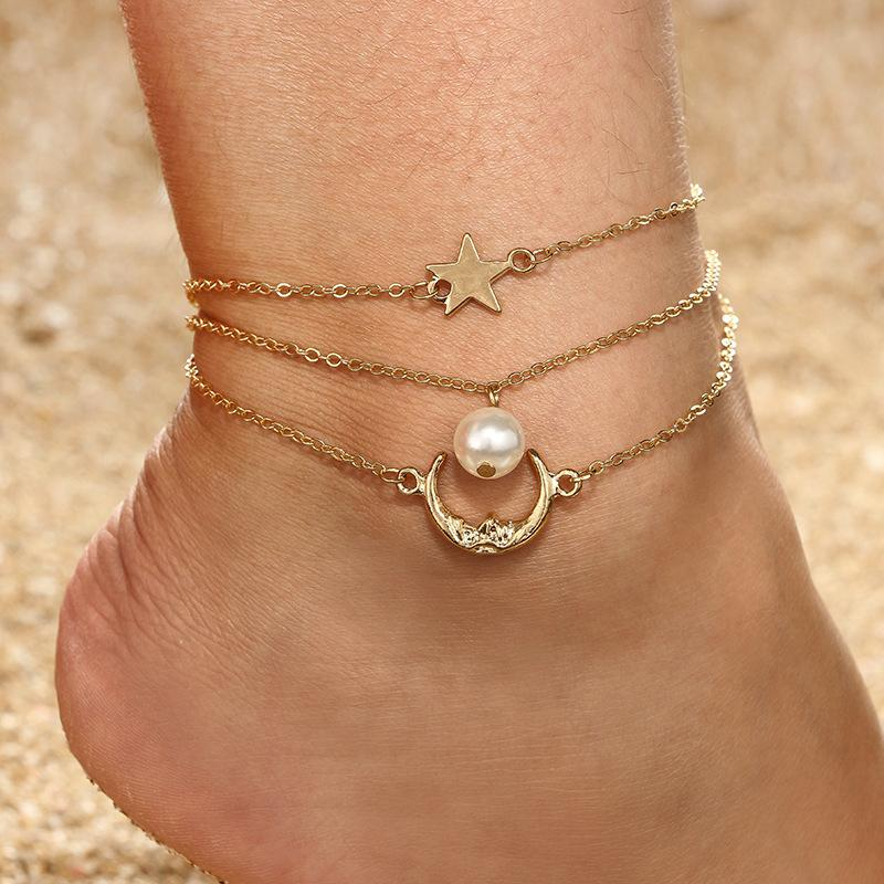 Star Anklet Foot Chain Beach Jewelry Bohemian Anklet Layer Anklet Woman Jewelry