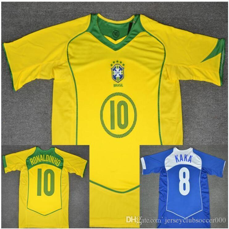 0e4f82d7c01 2019 2004 2005 Brazil Retro Soccer Jersey Ronaldo Ronaldinho Vintage 04 05  KAKA Brasil Calcio MAGLIA Classic Shirt Camisa De Futebol Maillot From ...