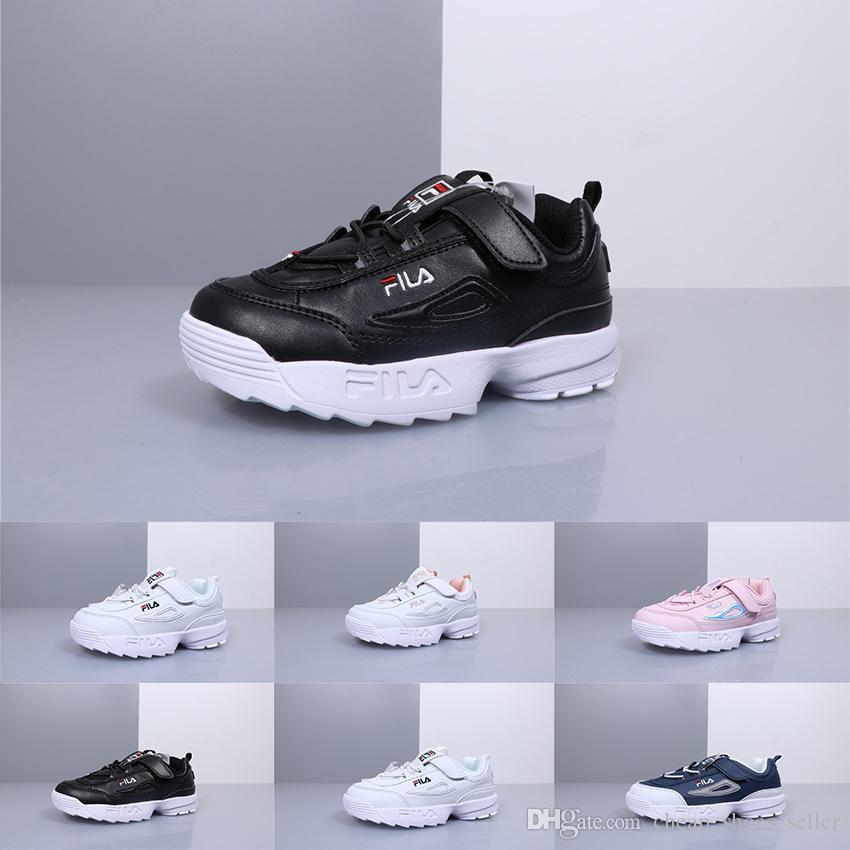 765bdfc90ade Fila Disruptors II 2 Kids Shoes For Boys Girls Black Casual Shoes ...