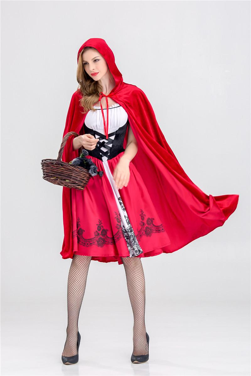 Little Red Riding Hood Costume for Women Fancy Adult Halloween Cosplay Fantasia Carnival Fairy Tale S-XL Girl Dress+Cloak