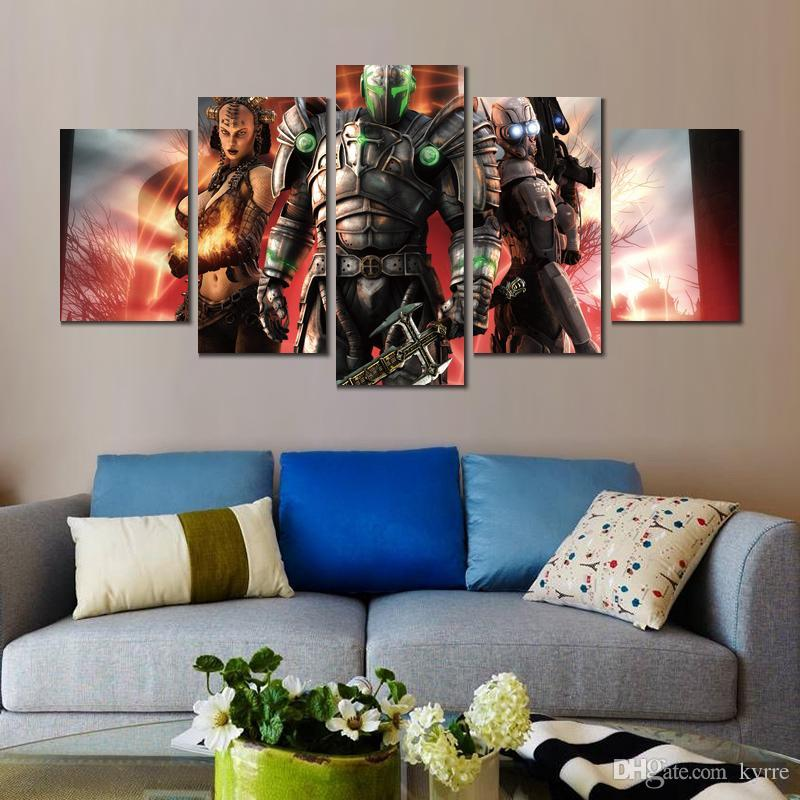 Modern 5 pannelli hellgate london HD Canvas Print Home decorazione Pittura artistica frameless