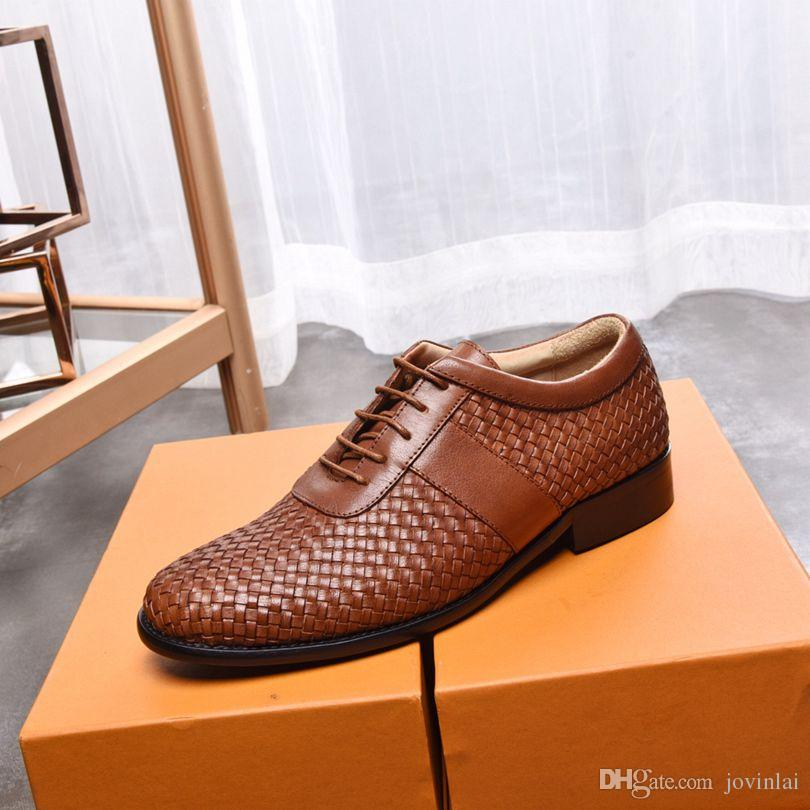 New Italian high-end brand men's fashion shoes with imported cowhide with woven rubber outsole comfortable walking men's lace-up shoes 38-45