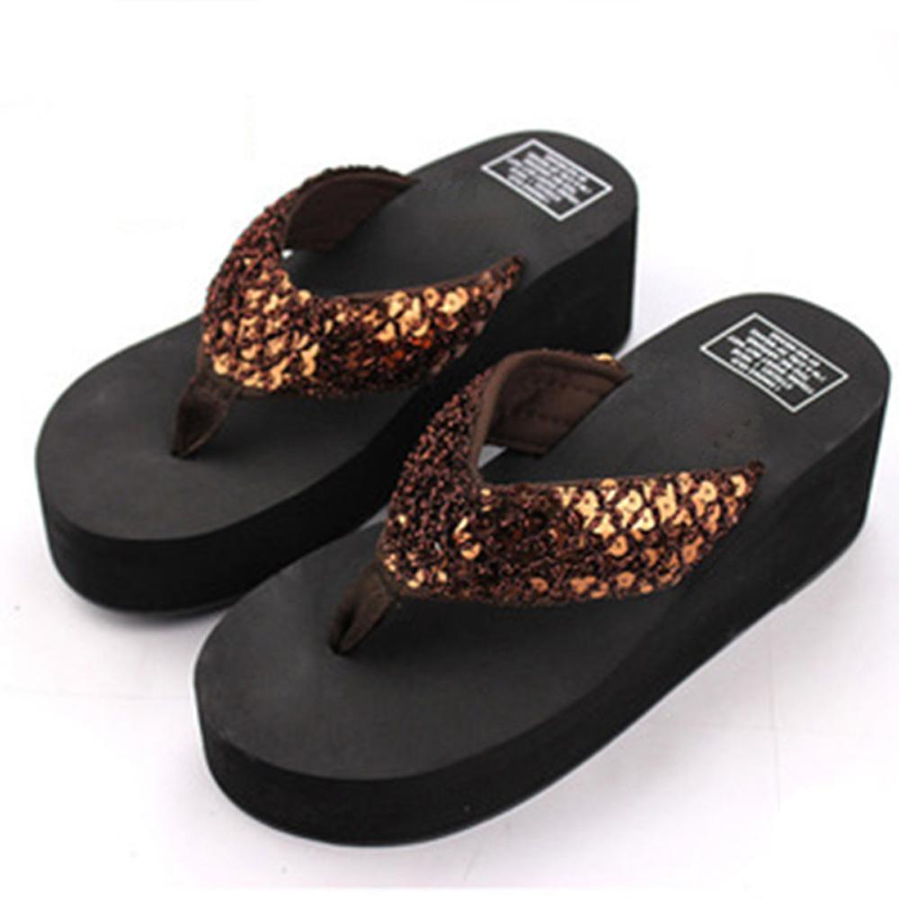 Women Girl Fashion Summer Sequins Anti-Slip Sandals Slipper for Indoor Outdoor Shoes Woman Flip Flops Summer House Slippers