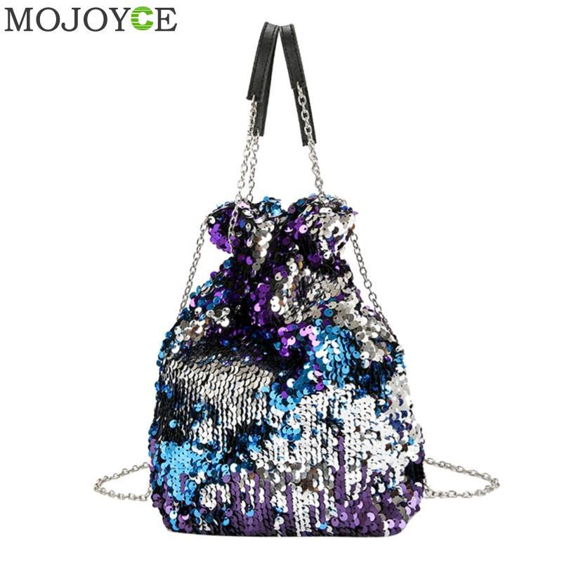 3a456f3593 2019 Fashion Women Bag Girl Sequined Bucket Bags Fashion Bling Sequins  Shoulder Bag Female Chain Drawstring Bag Bolsa Women S Handbags 2018 Purses  On Sale ...