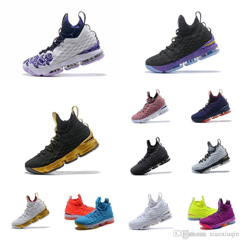 2135b3fa97781 2019 Cheap Lebron 15 Mens Basketball Shoes For Sale Floral Purple Fire Ice  Blue Orange Youth Kids Outdoor Sneakers Tennis With Box Size 7 To 12 From  ...