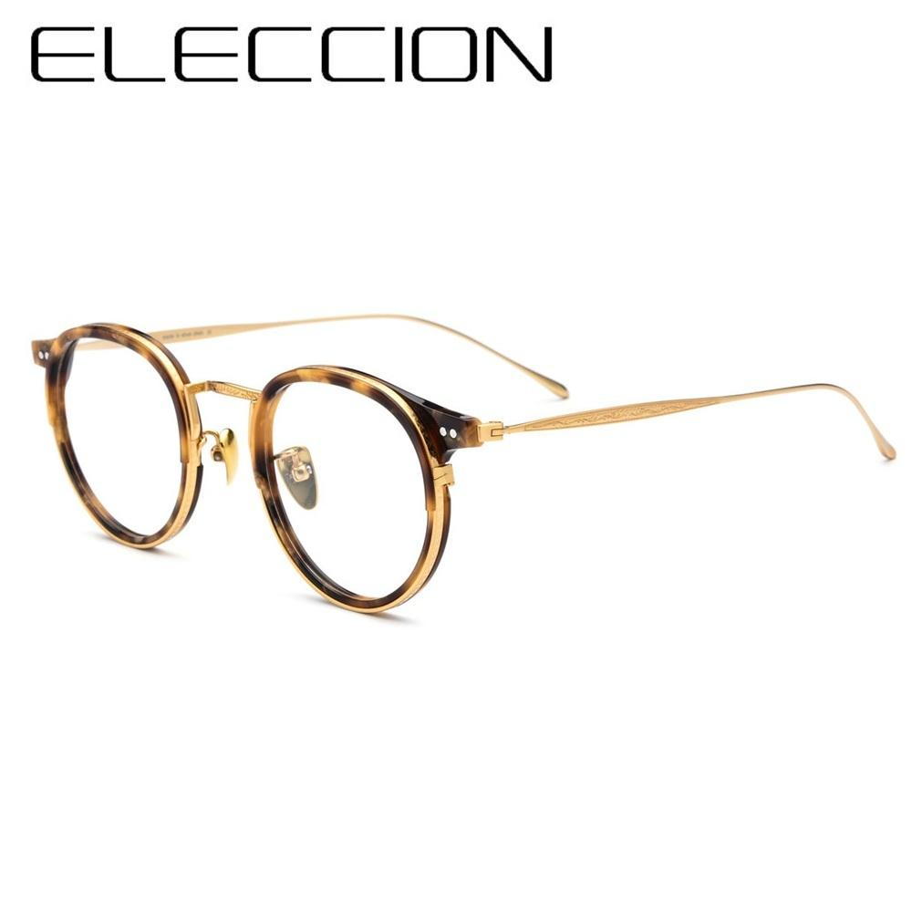 b6748197481 2019 ELECCION B Titanium Optical Glasses Frame Men Vintage Round  Prescription Eyeglasses Women Myopia Acetate Spectacles Eyewear From  Byuild