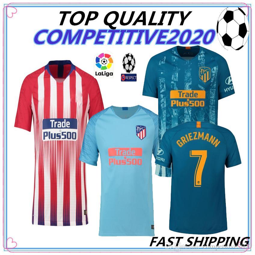 18 19 Top Quality Madrid Atletico Soccer Jersey GRIEZMANN Correa Lucas  Costa Koke Godin Luis Gimenez 2018 2019 Men Football Shirt Soccer Jersey  Online with ... 3fd70d737