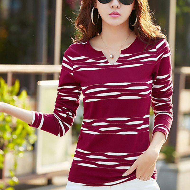 c63a7cf97d Shintimes Korean Style T Shirt Women Long Sleeve Cotton Striped Woman Tshirt  Top 2019 Casual T Shirt Tee Shirt Femme Plus Size Y19042101 It Tee Shirts  As T ...