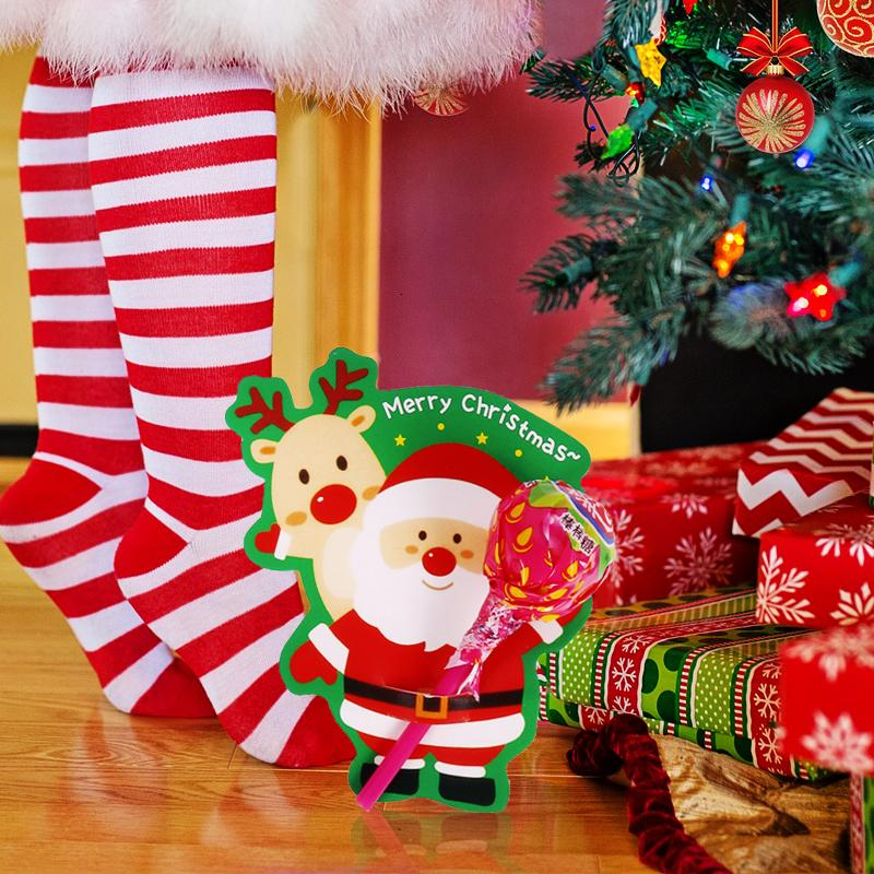 50pcs/bag Cute Santa Claus candy bags pack Paper cards christmas invitation card Natal Lollipop candy holds Christmas gift decor SH190918