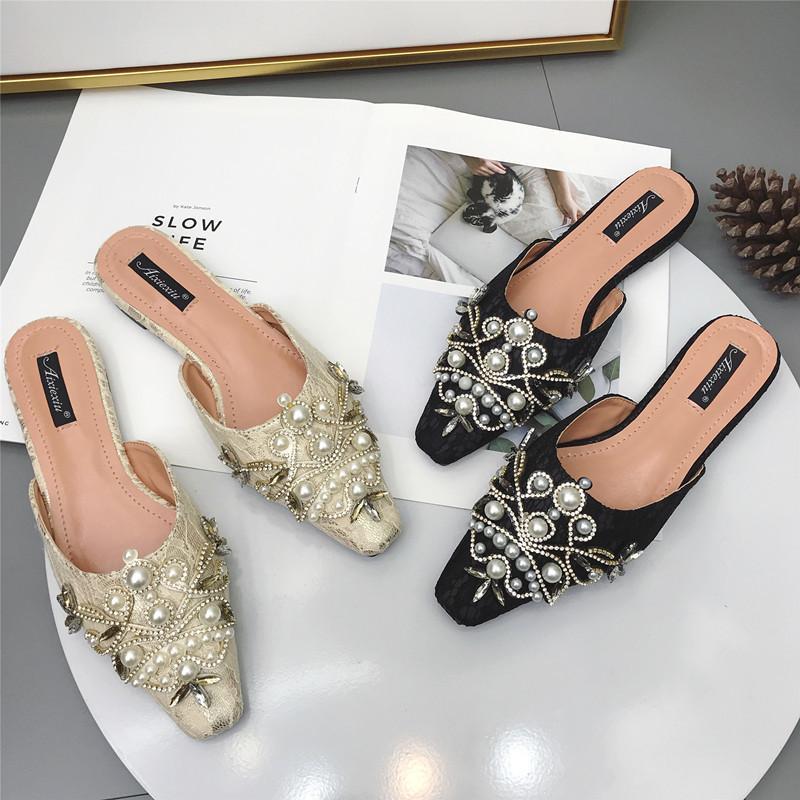 Modis Sexy lace summer slides women luxury crystal beading pearls mules ladies roman closed toe flat slippers loafers shoes 2019