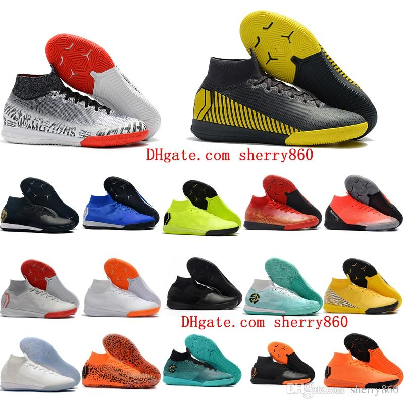 f74d5851e 2019 2018 Mens High Top Quality Soccer Cleats Mercurial SuperflyX VI CR7  Neymar Elite IC Indoor Soccer Shoes Superfly Football Boots Ankle From  Sherry860