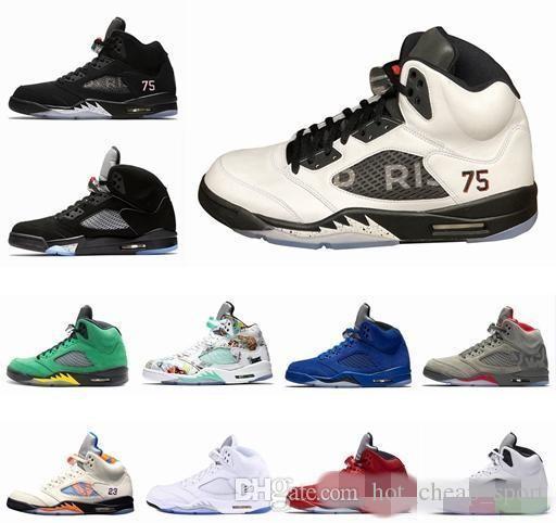 61ed3e1086de Men Basketball Shoes 5 5s PSG X Paris Saint-Germain 75 Black White ...