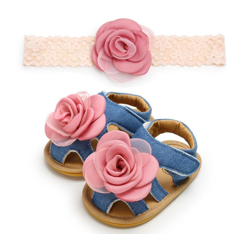 e37ba8d5c 2019 Small Flower Sandals Baby Girl Shoes Flowers Spring And Summer  Hairband Of Baby Gift Matching Newborn First Walkers From Kidsstore888