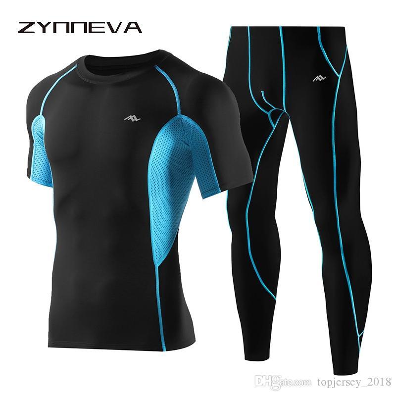 Compre ZYNNEVA Compresión Para Hombre Ropa Deportiva Para Correr Trajes De Deporte  Conjunto T Shirt + Pantalones Medias De Entrenamiento De Fitness Ropa ... a0ef9c935b18