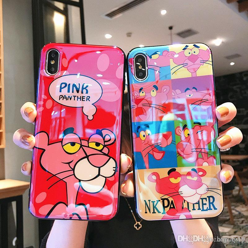 brand new e0141 8f0cb Factory price Pink panther Laser blue light Phone Case for iPhone 6 6s plus  7 8 plus iphone xs max Cover soft Silicone cases